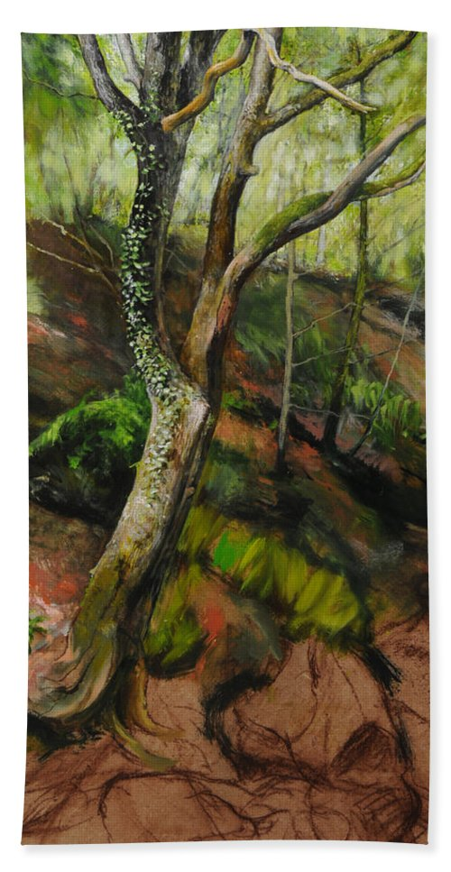 Landscape Beach Towel featuring the painting Sketch Of A Treetrunk by Harry Robertson