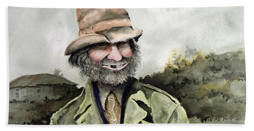 Portrait Beach Towel featuring the painting Skinny Benny by Sam Sidders