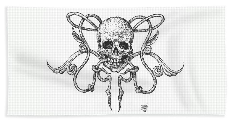 Skull Beach Towel featuring the drawing Skull Design by Dan Moran