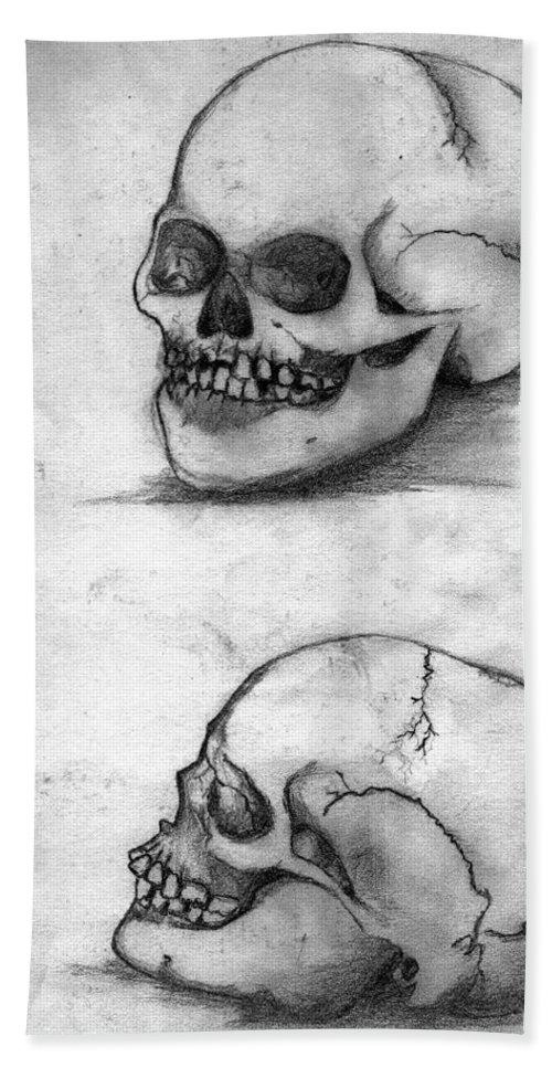 Skull Beach Towel featuring the drawing Skull Drawing by Alban Dizdari
