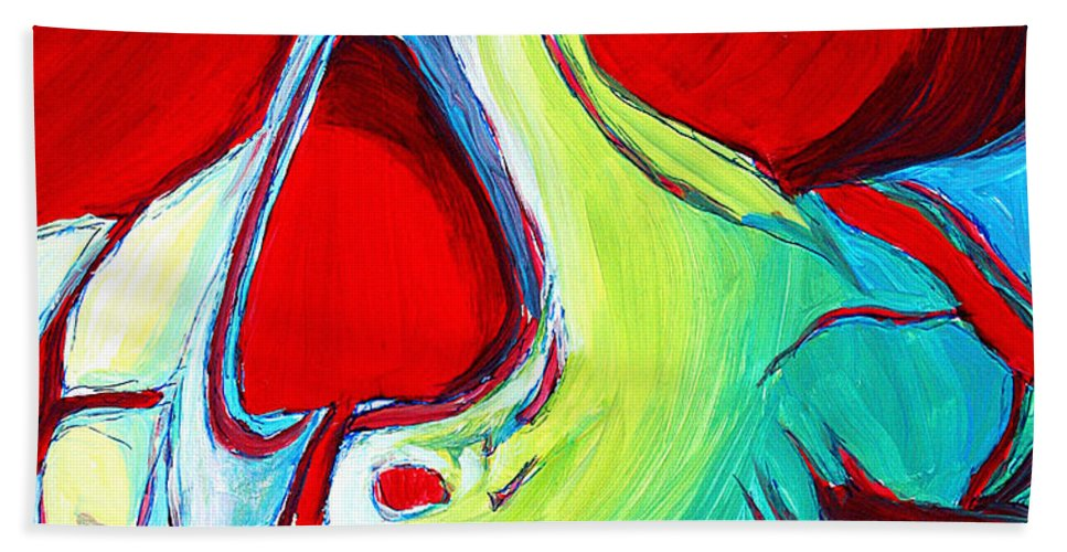 Abstract Beach Towel featuring the painting Skull Original Madart Painting by Megan Duncanson