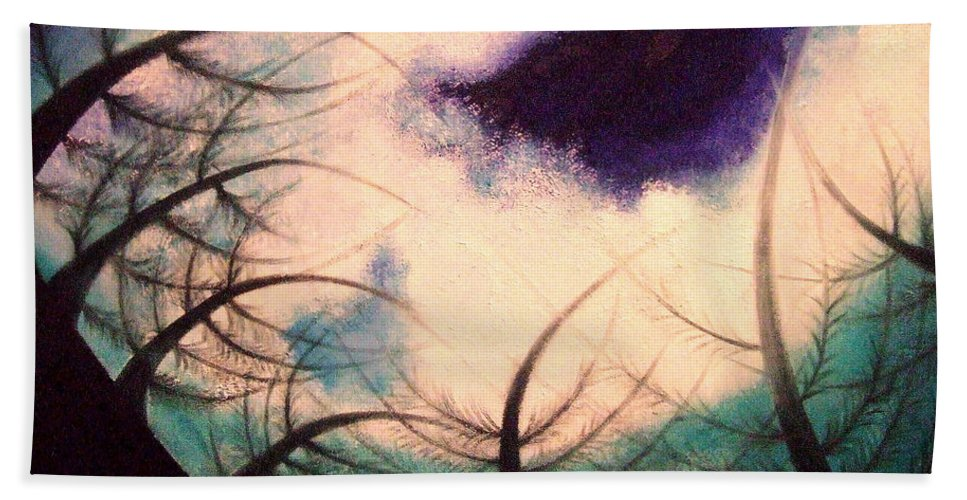 Sky.tree Symphony Beach Towel featuring the painting Sky And Land Symphony by Kumiko Mayer
