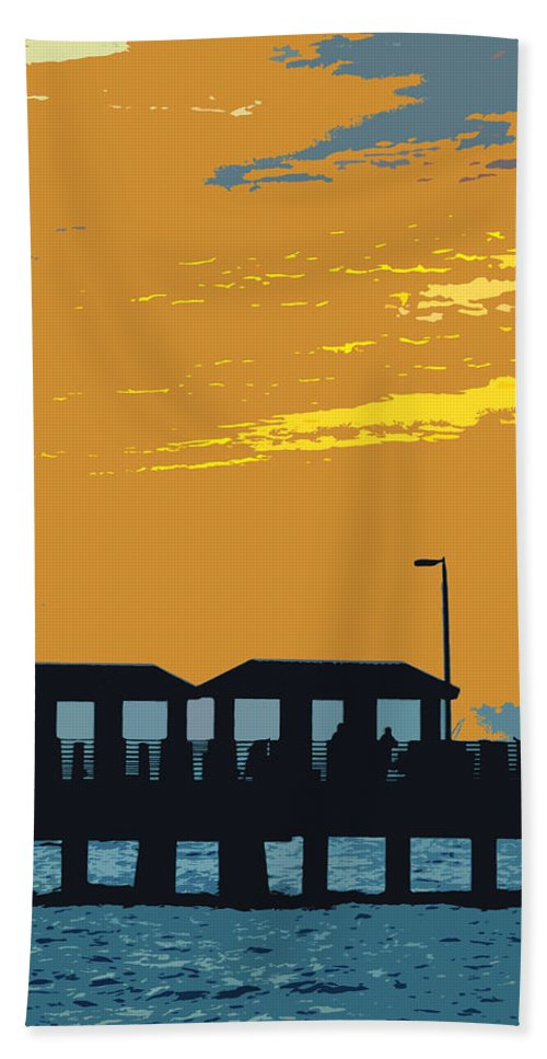 Fishing Pier Beach Towel featuring the painting Sky And Pier by David Lee Thompson