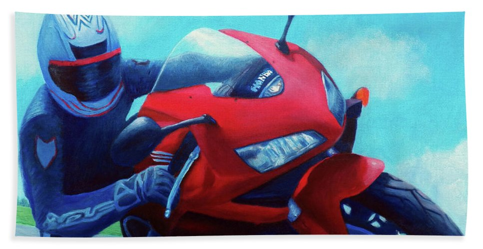 Motorcycle Beach Towel featuring the painting Sky Pilot - Honda Cbr600 by Brian Commerford