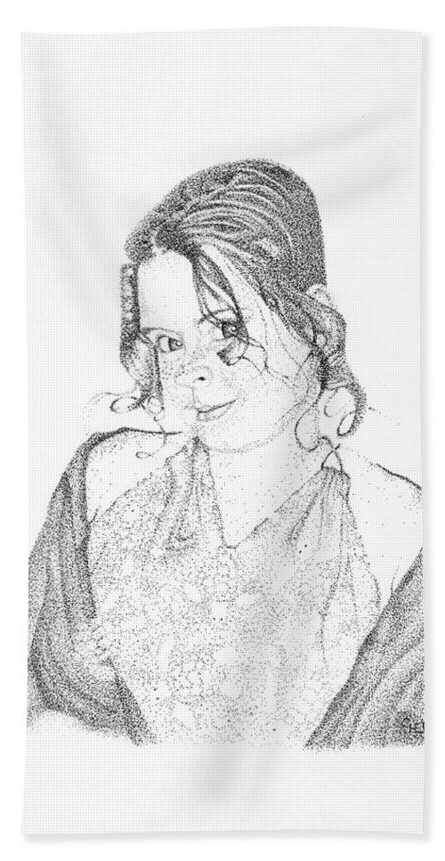 Sky Beach Towel featuring the drawing Skye by Mayhem Mediums