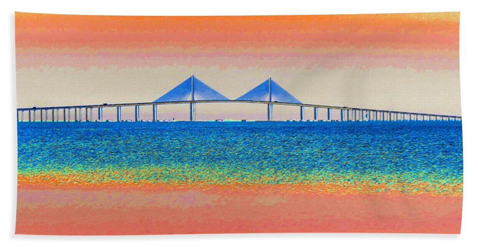 Art Beach Towel featuring the painting Skyway Morning by David Lee Thompson