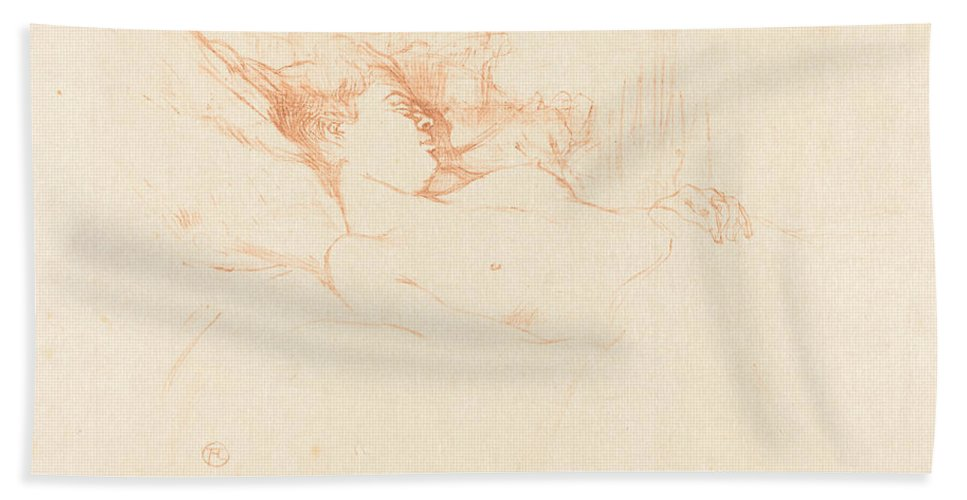 Beach Towel featuring the drawing Sleep (le Sommeil) by Henri De Toulouse-lautrec