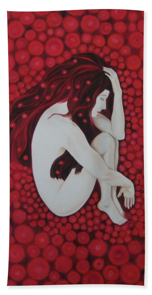 Female Beach Towel featuring the painting Sleeping Beauty by Jindra Noewi