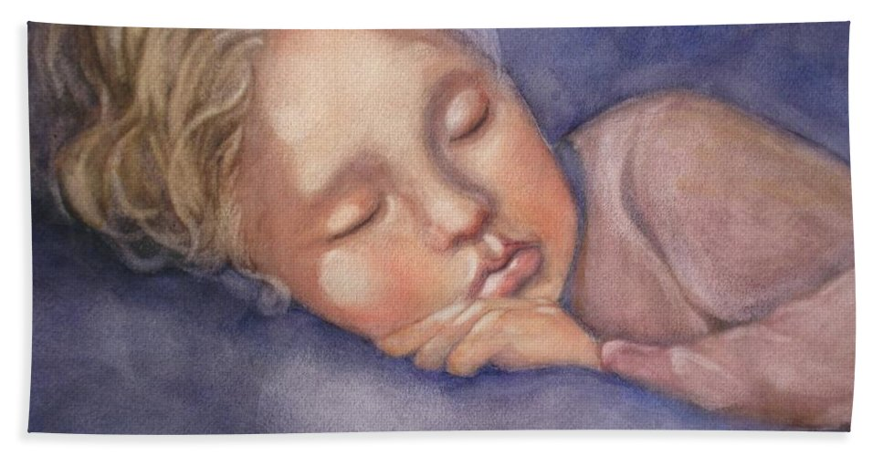 Sleeping Girl Beach Towel featuring the painting Sleeping Beauty by Marilyn Jacobson