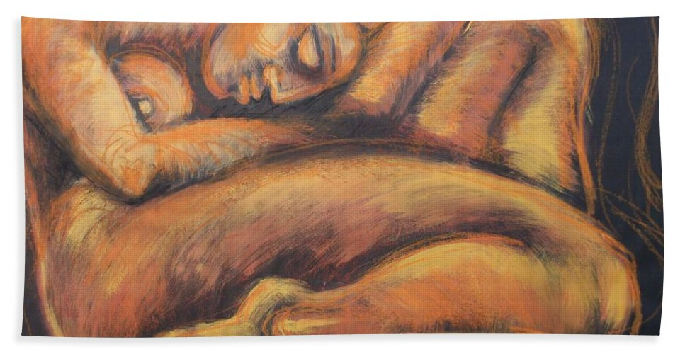 Sleeping Nymph3 Beach Towel featuring the painting Sleeping Nymph3 by Carmen Tyrrell