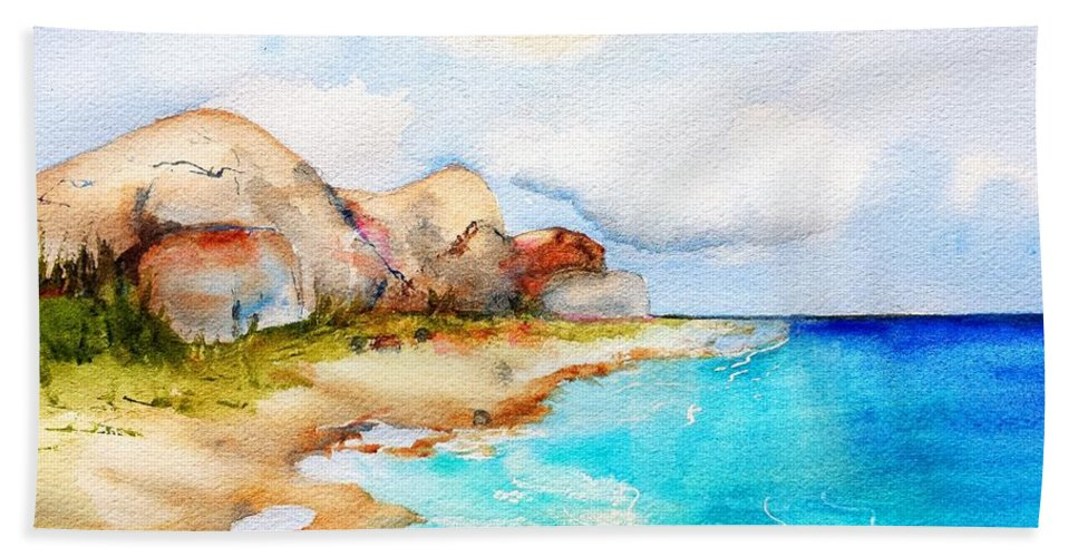 Tropical Beach Beach Towel featuring the painting Sleeping Virgin by Carlin Blahnik CarlinArtWatercolor