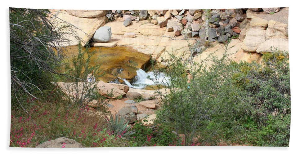 Slide Rock Beach Towel featuring the photograph Slide Rock With Pink Wildflowers by Carol Groenen