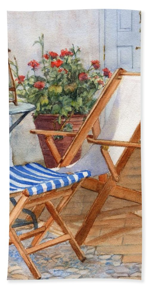 Sling Back Beach Towel featuring the painting Sling Back Chair by Katherine Berlin