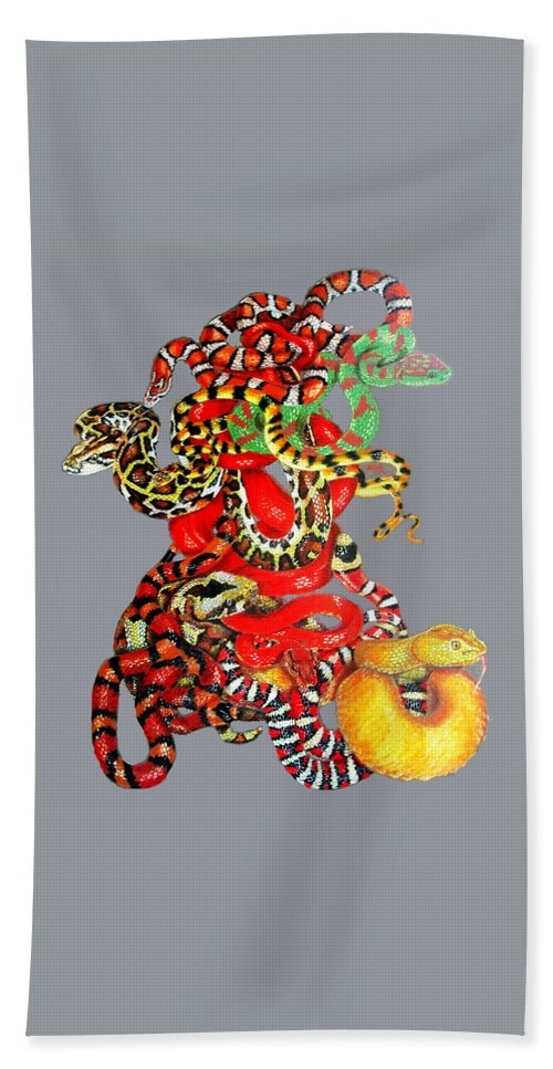 Reptile Beach Towel featuring the drawing Slither by Barbara Keith