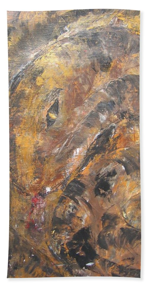 Acrylic Beach Towel featuring the painting Slither by Maria Watt