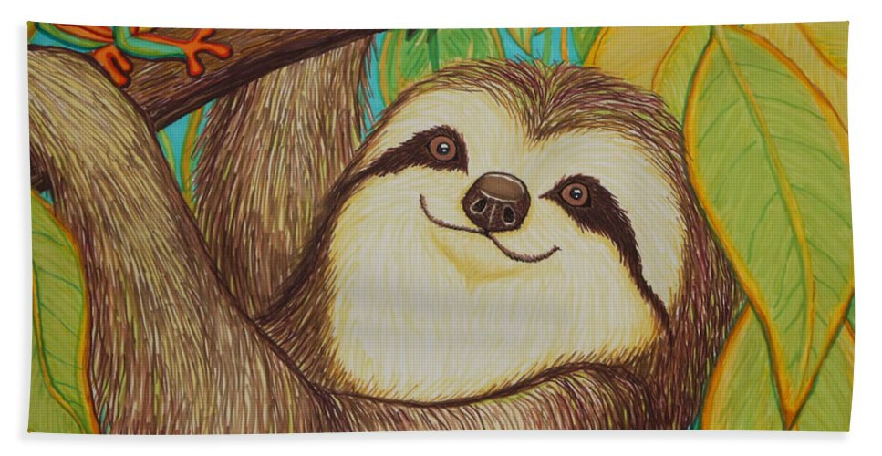 Sloth Beach Towel featuring the drawing Sloth and Frog by Nick Gustafson