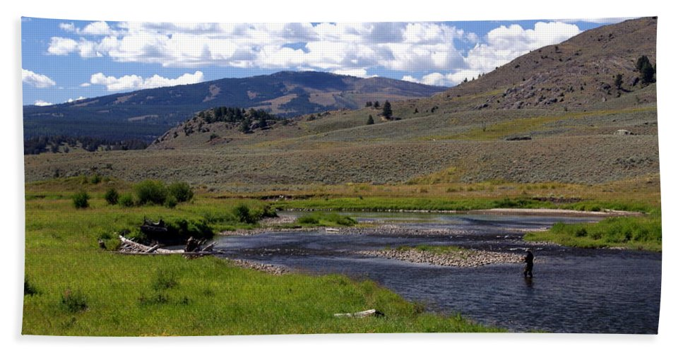 Yellowston National Park Beach Towel featuring the photograph Slough Creek Angler by Marty Koch