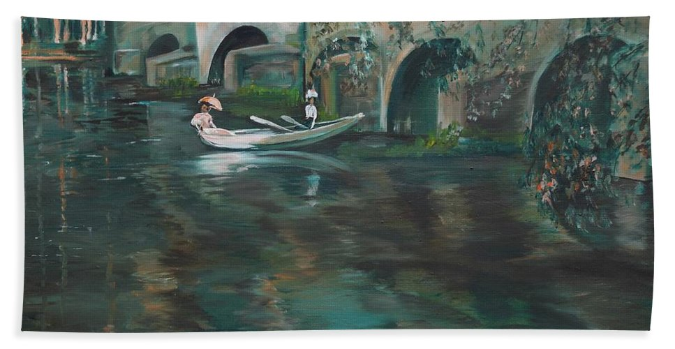 River Beach Sheet featuring the painting Slow Boat - Lmj by Ruth Kamenev