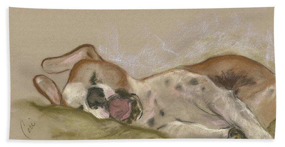 Dog Beach Towel featuring the drawing Slumbering Grace by Cori Solomon