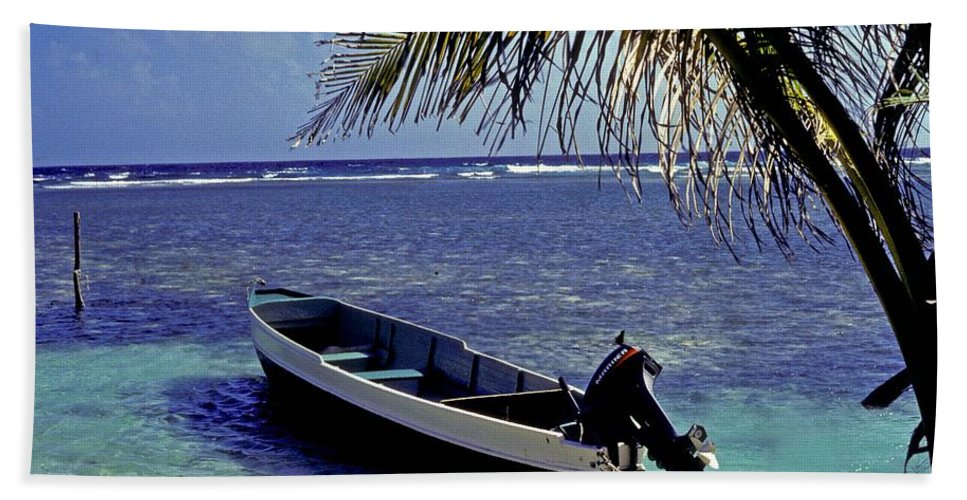 Boat Beach Towel featuring the photograph Small Boat Belize by Gary Wonning