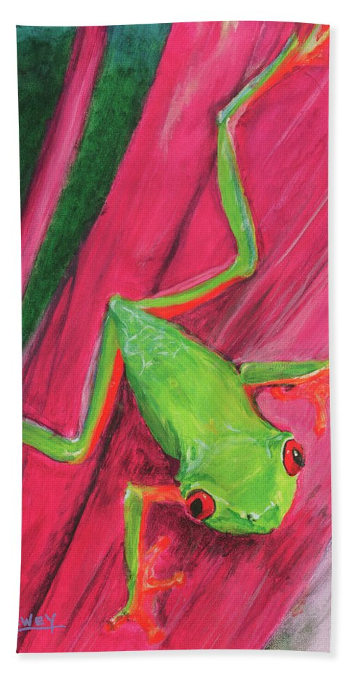 Frog Beach Towel featuring the painting Small Frog by Terry Lewey