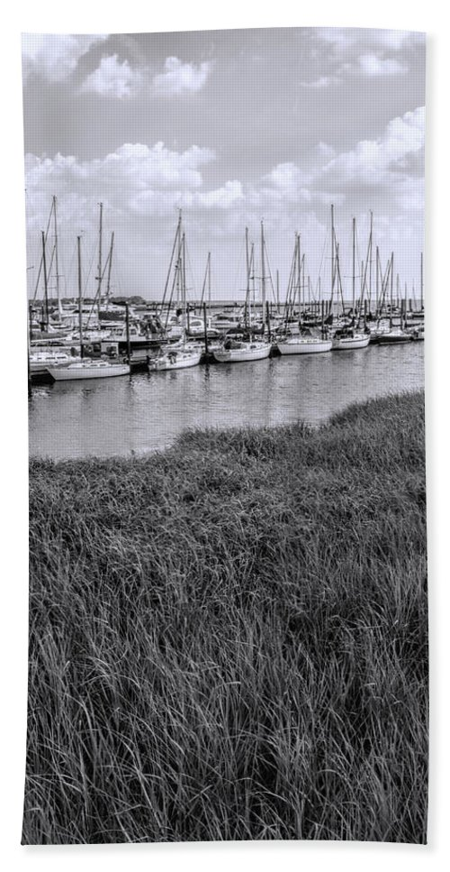 Sailboats Beach Towel featuring the photograph Small Sailboat Harbor Monochrome by Kathy Clark