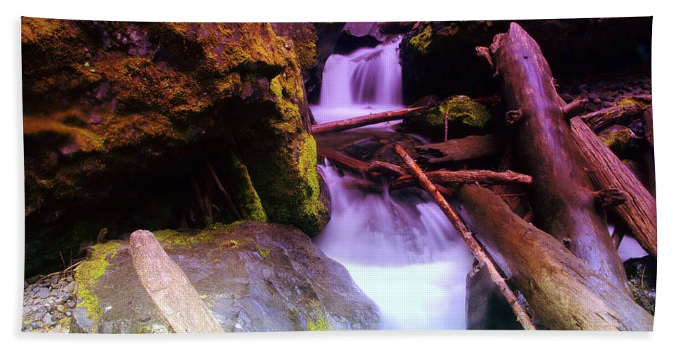 Water Beach Towel featuring the photograph Small Waterfalls by Jeff Swan