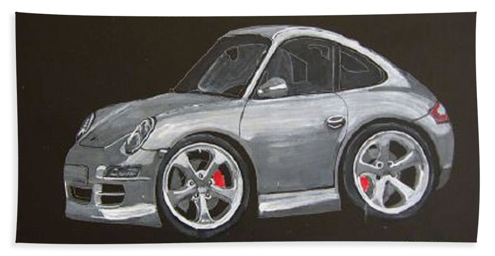 Car Beach Towel featuring the painting Smart Porsche by Richard Le Page