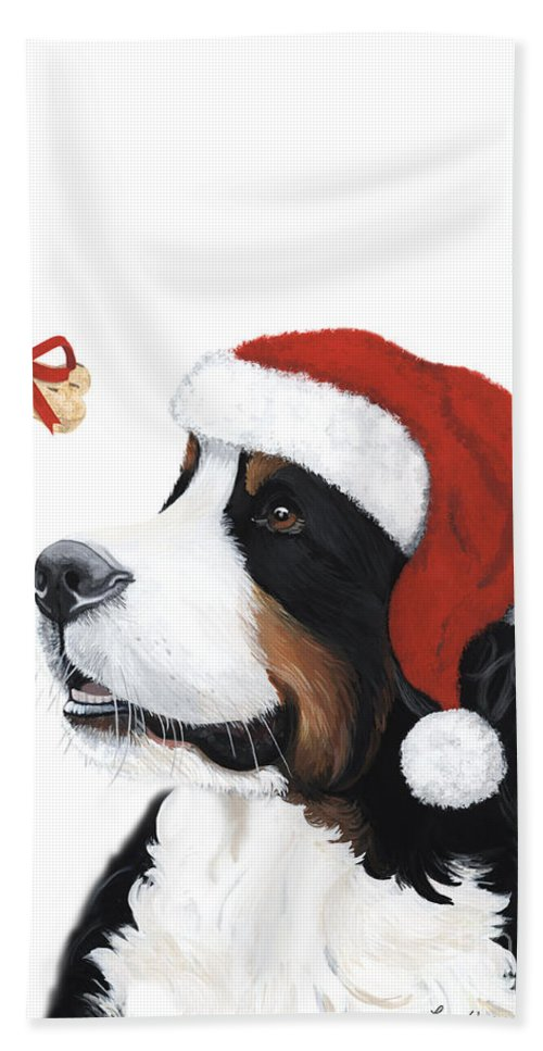 Bernese Mountain Dog Beach Towel featuring the painting Smile Its Christmas by Liane Weyers