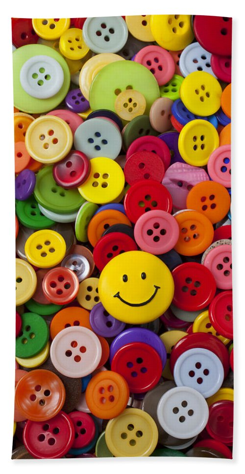 Smiley Face Beach Towel featuring the photograph Smiley Face Button by Garry Gay