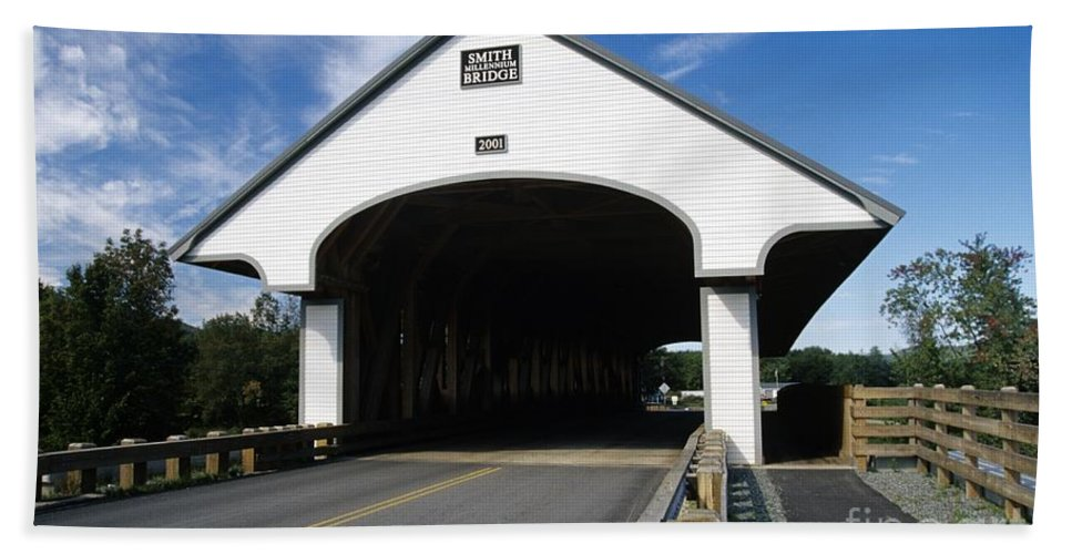 Bridge Beach Towel featuring the photograph Smith Covered Bridge - Plymouth New Hampshire Usa by Erin Paul Donovan