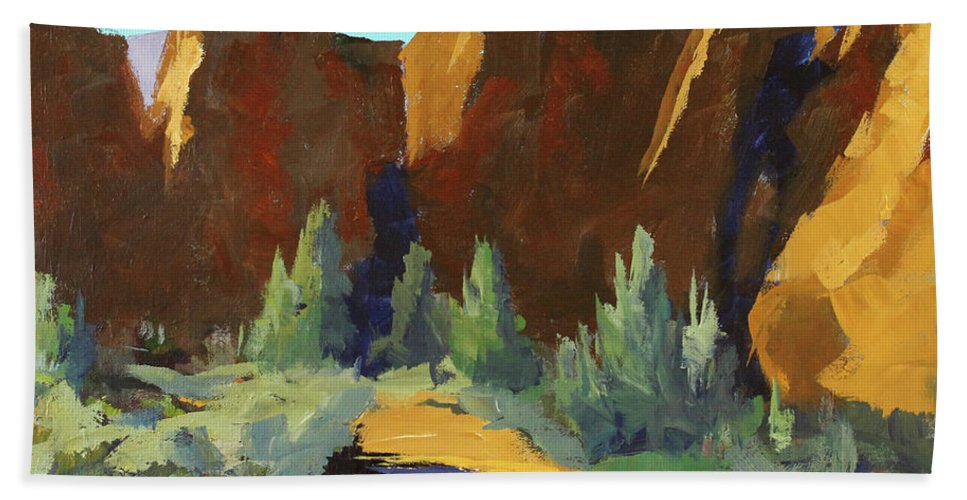 Oregon Landscape Painting Beach Towel featuring the painting Smith Rock by Nancy Merkle