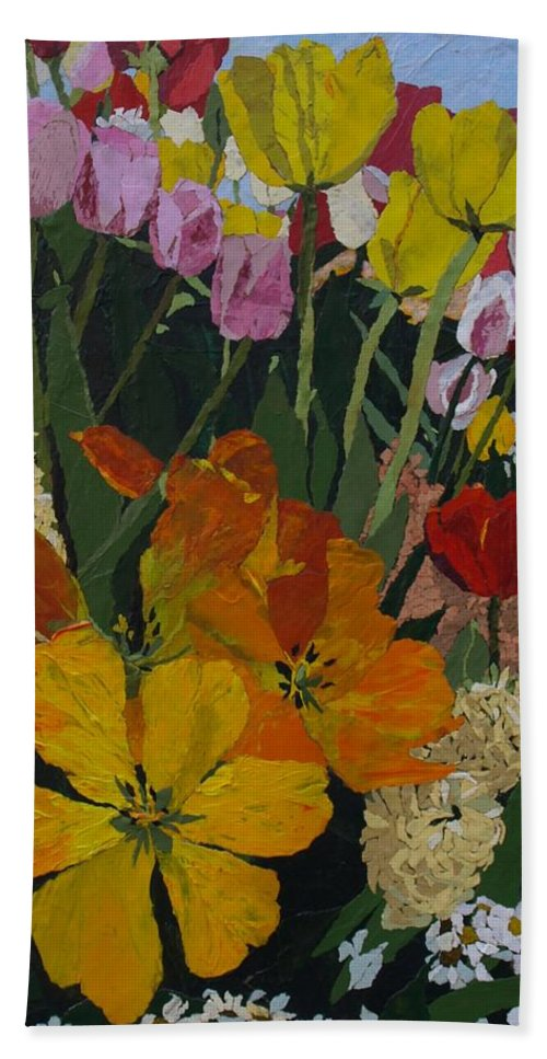 Floral Beach Towel featuring the painting Smith's Bulb Show by Leah Tomaino