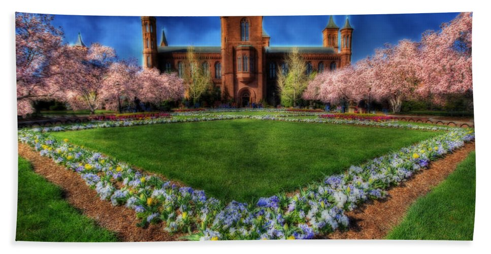 Cherry Beach Towel featuring the photograph Spring Blooms In The Smithsonian Castle Garden by Shelley Neff