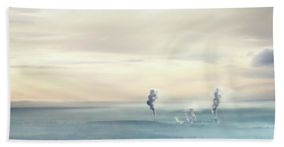 Elaine Hill Beach Towel featuring the photograph Smoke Plumes In The Mist Over Scotland by Elaine Hill