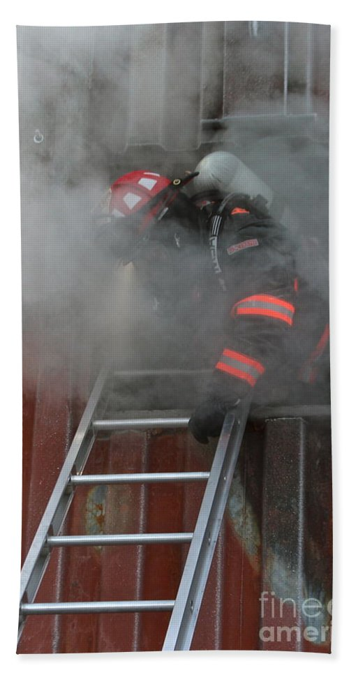 Firefighter Beach Towel featuring the photograph Smoke by Rick Monyahan