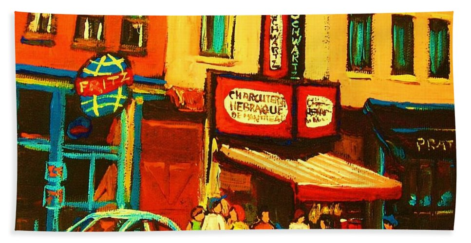 Montreal Smoked Meat Restaurants City Scenes Beach Towel featuring the painting Smoked Meat Sandwiches Await by Carole Spandau