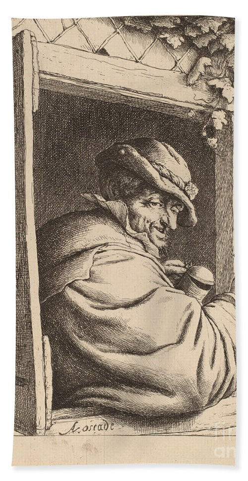 Beach Towel featuring the drawing Smoker At A Window by Adriaen Van Ostade