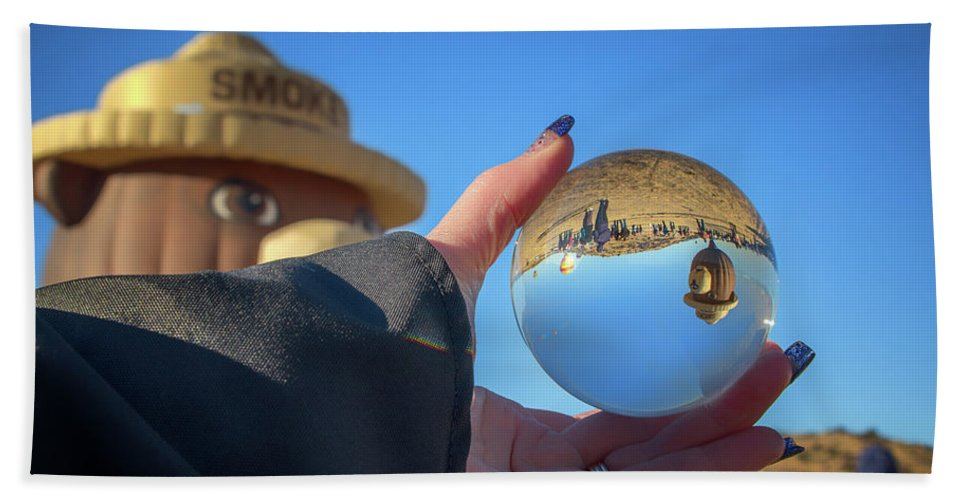 2017 Beach Towel featuring the photograph Smokey Bear Balloon In The Crystal Ball by Marnie Patchett