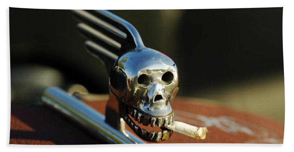 Transportation Beach Towel featuring the photograph Smoking Skull Hood Ornament by Jill Reger