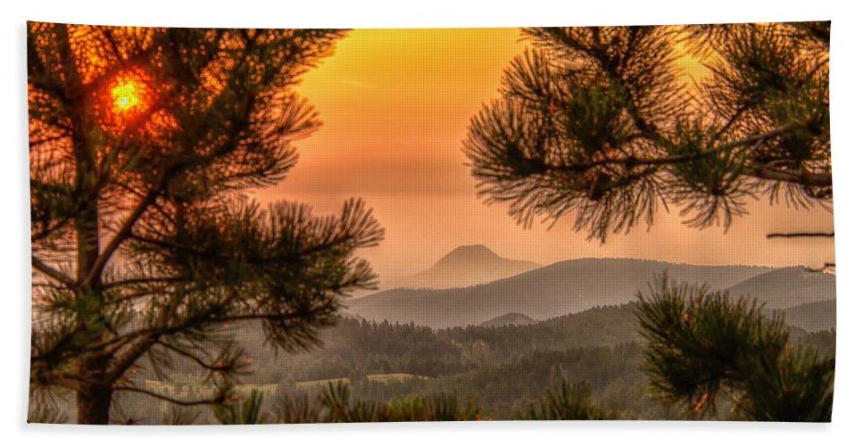 Smoke Beach Towel featuring the photograph Smoky Black Hills Sunrise by Fiskr Larsen