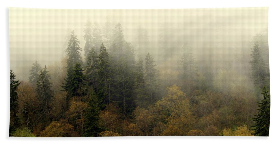 Fog Beach Sheet featuring the photograph Smoky Mount Horizontal by Marty Koch