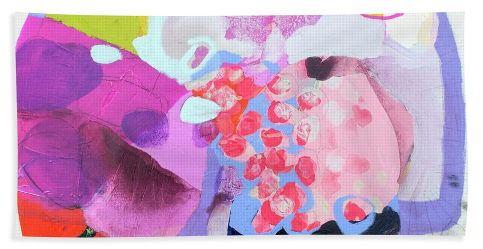 Abstract Beach Towel featuring the painting Smug by Claire Desjardins