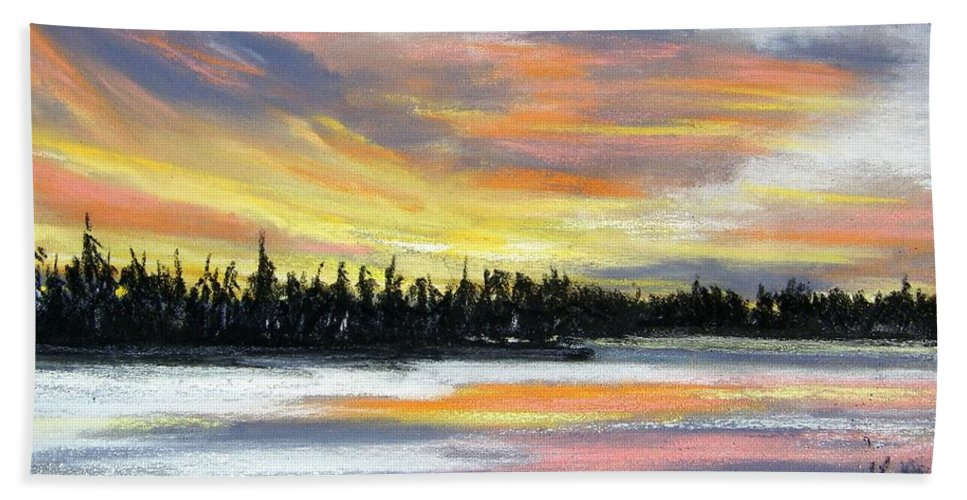 Sunset Beach Towel featuring the pastel Snake River Sunset by Gale Cochran-Smith