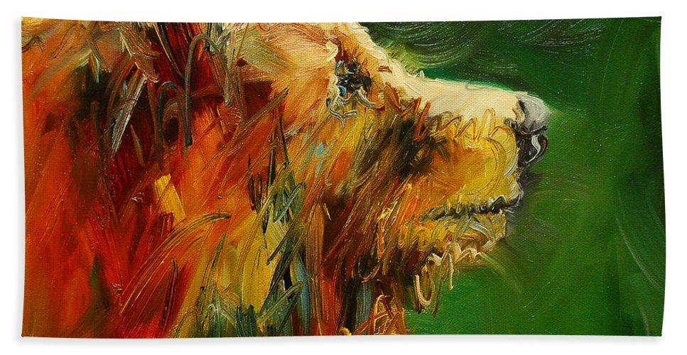 Bear Beach Towel featuring the painting Sniffing For Food Bear by Diane Whitehead