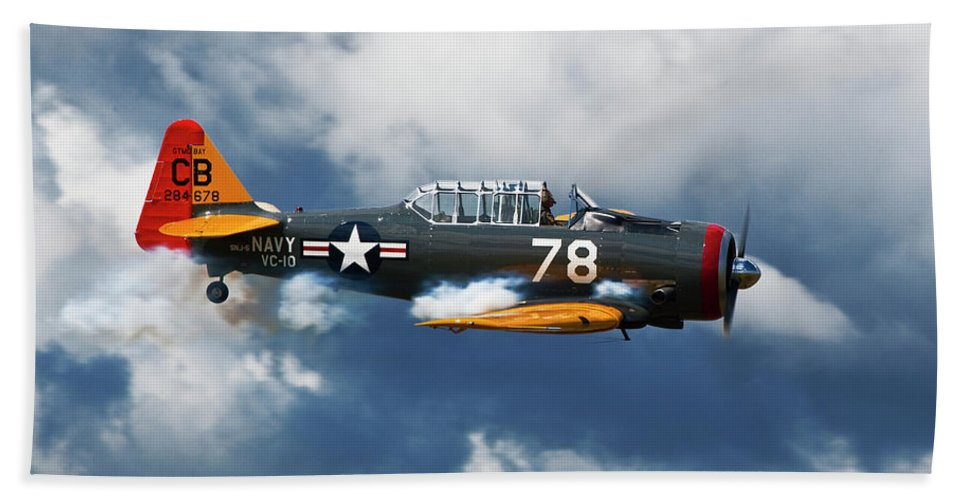 Snj-5 Beach Towel featuring the photograph Snj-5 Texan T-6 Smoke On by Bruce Beck
