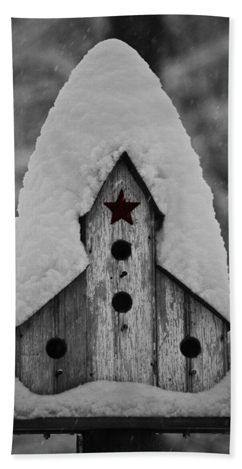 Snow Beach Towel featuring the photograph Snow Covered Birdhouse by Teresa Mucha