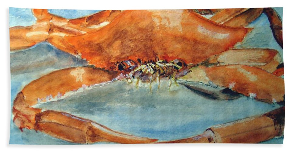 Crab Beach Towel featuring the painting Snow Crab Is Ready by Carol Grimes