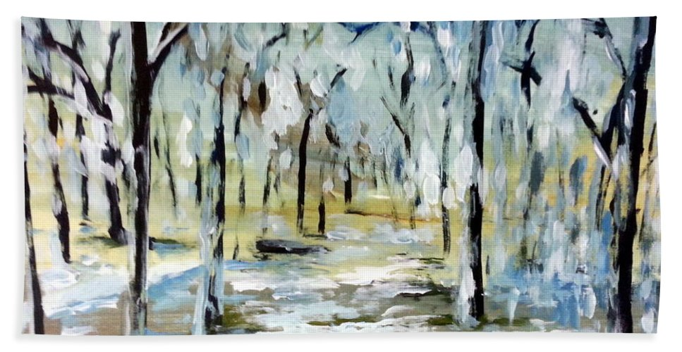 Snow Forest Abstact Nature Trees Winter Cold Beach Towel featuring the painting Snow Forest by Hamlet Al Kuti