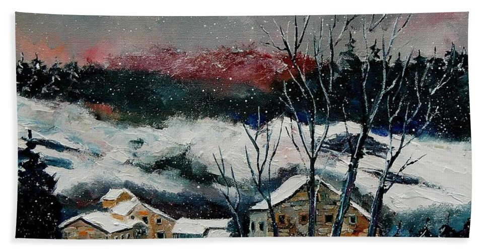Winter Beach Towel featuring the painting Snow In Sechery Redu by Pol Ledent